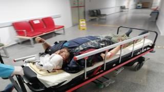 Devrilen Motosikletle Metrelerce Sürüklenen Sürücü Yaralandı